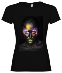 Woman with fluo face